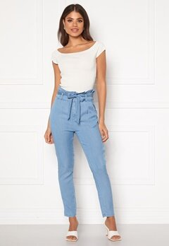 VERO MODA Eva HR Paperbag Pant Light Blue Denim Bubbleroom.fi