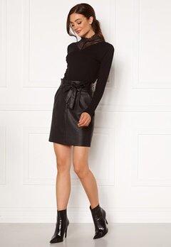 VERO MODA Eva Paperbag Short Coated Skirt Black Bubbleroom.fi