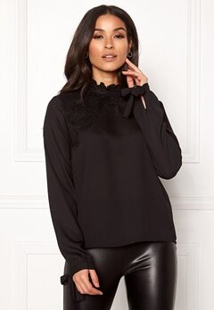 VERO MODA Fana Sharpa L/S Lace Top Black Bubbleroom.fi
