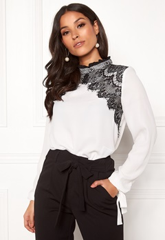 VERO MODA Fana Sharpa L/S Lace Top Snow White Bubbleroom.fi