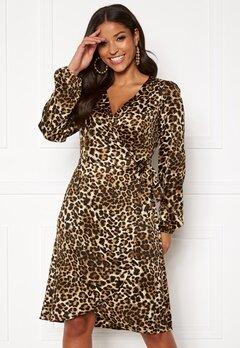 VERO MODA Gamma l/s Wrap Dress Pristine/Leo Bubbleroom.fi