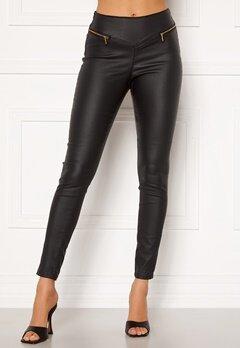 VERO MODA Geller HR Slim Coated Zip Pants Black Bubbleroom.fi