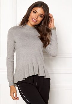 VERO MODA Gin Happy LS Highneck Light Grey Melange Bubbleroom.fi