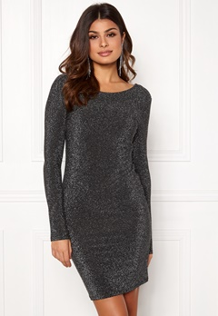 VERO MODA Githa LS Lurex Dress Black Silver Lurex Bubbleroom.fi