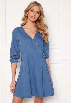 VERO MODA Henna 3/4 Wrap Dress Light Blue Denim Bubbleroom.fi