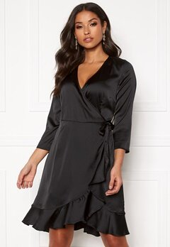 VERO MODA Henna Satin Wrap Dress Black Bubbleroom.fi