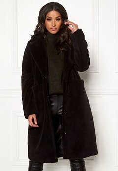 VERO MODA Holly Long Teddy Jacket Black Bubbleroom.fi