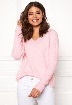 VERO MODA Lefile LS V-neck Blouse Prism Pink Bubbleroom.fi