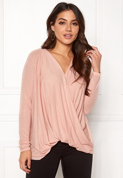 VERO MODA Mandy LS Wrap Top Boo Misty Rose Bubbleroom.fi