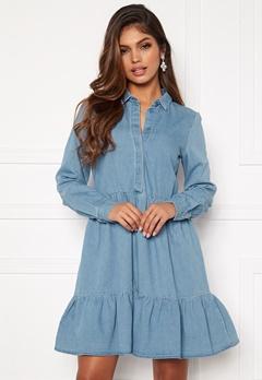 VERO MODA Maria Frill LS Dress Light Blue Denim Bubbleroom.fi