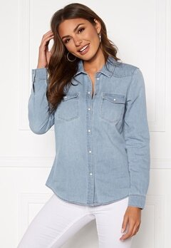 VERO MODA Maria LS Denim Slim Shirt Light Blue Denim Bubbleroom.fi