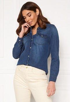 VERO MODA Maria LS Denim Slim Shirt Medium Blue Denim Bubbleroom.fi
