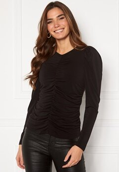 VERO MODA Megane L/S Rouching Top Black Bubbleroom.fi