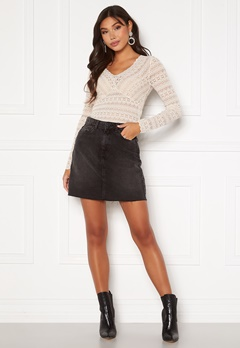 VERO MODA Mikky Raw Denim Skirt Black Bubbleroom.fi