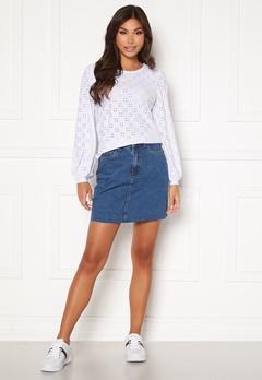 VERO MODA Mikky Raw Denim Skirt Medium Blue Denim bubbleroom.fi
