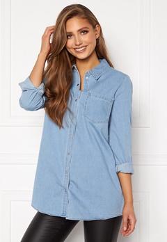 VERO MODA Mila LS Long Shirt Light Blue Denim Bubbleroom.fi