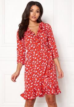 VERO MODA Molly Poly 3/4 Wrap Dress Poppy Red Bubbleroom.fi