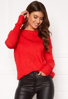 VERO MODA Mure ls O-neck Knit High Risk Red Bubbleroom.fi