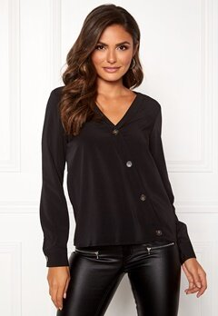 VERO MODA Pearl Button L/S Top Black Bubbleroom.fi