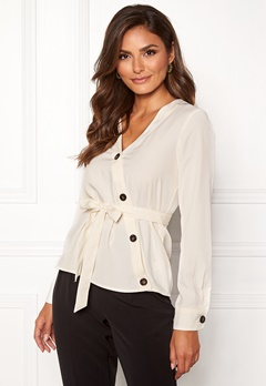 VERO MODA Pearl Button L/S Top Pristine Bubbleroom.fi