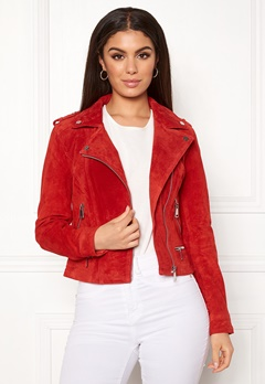 VERO MODA Royce Short Suede Jacket Fiery Red Bubbleroom.fi