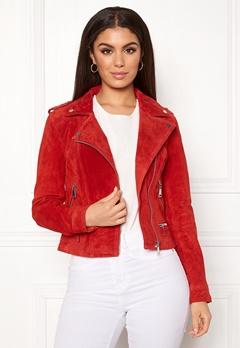 VERO MODA Royce Short Suede Jacket Fiery Red Bubbleroom.fi