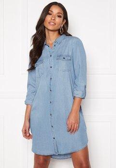 VERO MODA Silla LS Short Dress Light Blue Denim Bubbleroom.fi