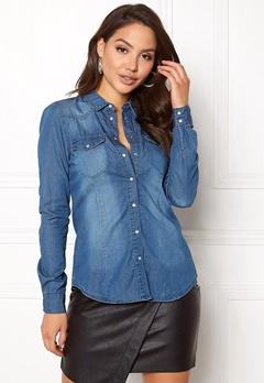 VERO MODA Vera LS Denim Shirt Medium Blue Denim Bubbleroom.fi