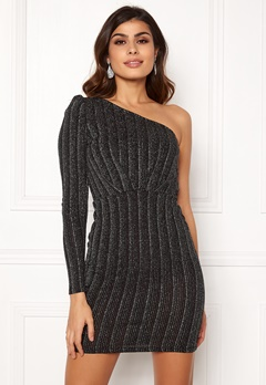 VERO MODA Wiona One Shoulder Short Dress Black Silver Lurex Bubbleroom.fi