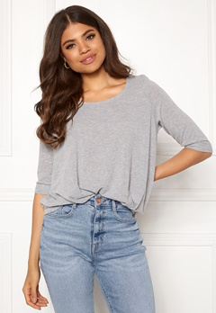 VERO MODA Zhei 3/4 Fold-Up Top Light Grey Melange Bubbleroom.fi