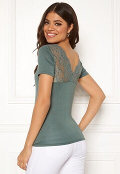 ONLY Vic S/S Deep Backlace Top Balsam Green Bubbleroom.fi