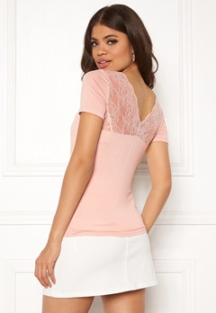 ONLY Vic S/S Deep Backlace Top Rose Smoke Bubbleroom.fi