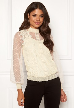 VILA Ama L/S Top Cloud Dancer Bubbleroom.fi