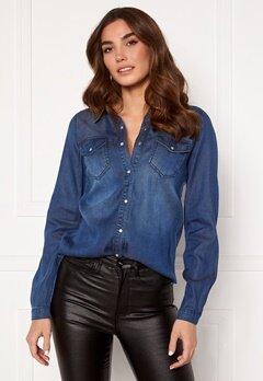 VILA Bista Denim Shirt Dark Blue Denim Bubbleroom.fi