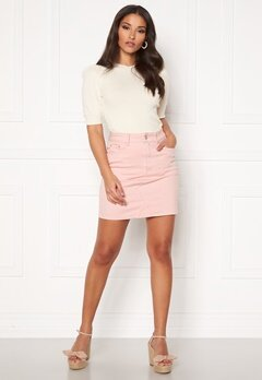VILA Cassie Short Denim Skirt Pale Mauve Bubbleroom.fi