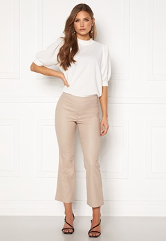VILA Commit Coated HWSL Cropped Pants Simply Taupe Bubbleroom.fi