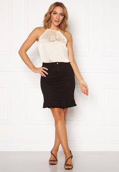 VILA Commit Peplum Denim Skirt Black Bubbleroom.fi