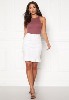 VILA Commit Peplum Denim Skirt White Alyssum Bubbleroom.fi