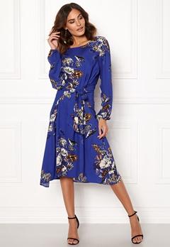 VILA Esto Sano L/S Midi Dress Clementis Blue Bubbleroom.fi