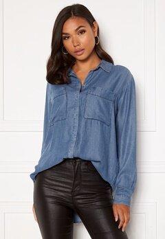 VILA Floria L/S Shirt Medium Blue Denim Bubbleroom.fi