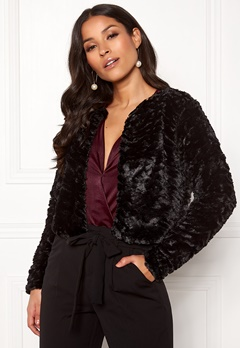 VILA Fury L/S Faux Fur Jacket Black Bubbleroom.fi