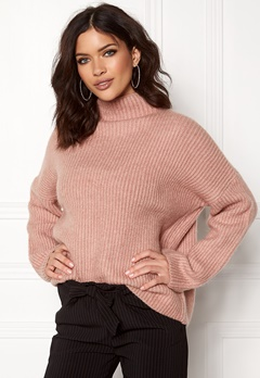 VILA Grip L/S Knit Top Adobe Rose Bubbleroom.fi