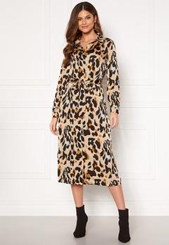 VILA Jolie L/S Shirt Dress Nomad AOP Leopard Bubbleroom.fi