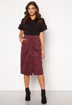 VILA Josy Button HW Skirt Tawny Port Bubbleroom.fi