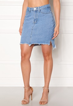 VILA Jules HW Slit Skirt Light Blue Denim Bubbleroom.fi