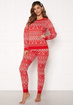 VILA Kosi Knit Leggings Racing red Bubbleroom.fi