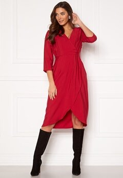 VILA Kri 3/4 Wrap Dress Jetser Red bubbleroom.fi
