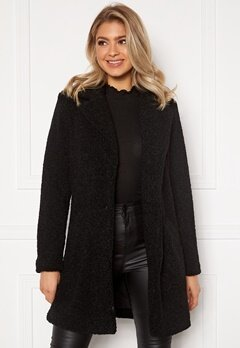VILA Liosi Teddy Coat Black Bubbleroom.fi