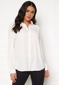VILA Lucy L/S Button Shirt Snow White Bubbleroom.fi