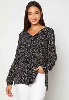 VILA Lucy L/S Print Shirt Black AOP Ally Bubbleroom.fi